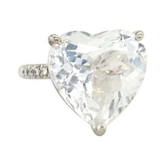 16.34 Carat Heart Shaped White Topaz Ring with .12 Carats of Diamonds