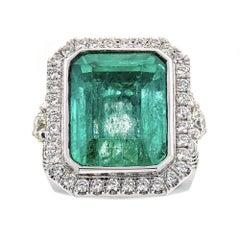 16.35 Carat Emerald and 16.35 Carat Diamond Ring in 14 Karat White Gold