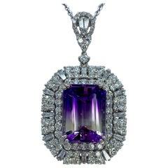 16.36 Carat Bi-Color Amethyst and Diamond 18k White Gold Pendant Necklace