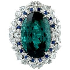16.39 Carat Green Tourmaline Diamond 18 Karat Gold Ring