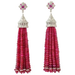 163.91 Carat Ruby Diamond Tassel Earrings