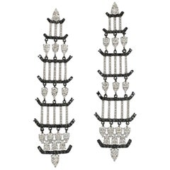 1.64 Carat 18 Karat Black and White Diamond Chandelier Earrings