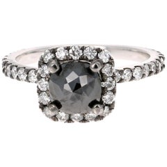 1.64 Carat Black and White Diamond 14 Karat White Gold Ring