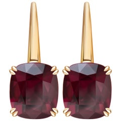 16.4 Carat Burgundy Rhodolite Garnet 18 Karat Yellow Gold Earrings