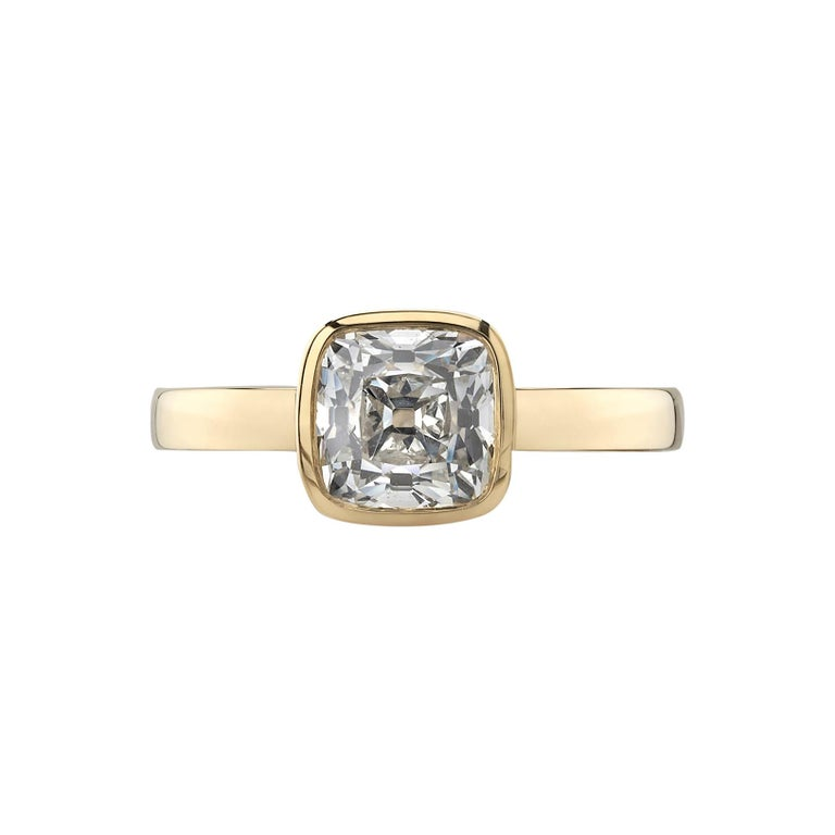 1.64 Carat Cushion Cut Diamond Set in a Handcrafted Yellow Gold Engagement Ring For Sale