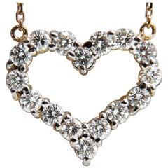 1.64 Carat Diamonds Open Heart Necklace 14 Karat G/Vs