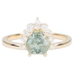 1.64 Carat Geometric Montana Sapphire Diamond Halo 14K Yellow Gold Ring AD2241
