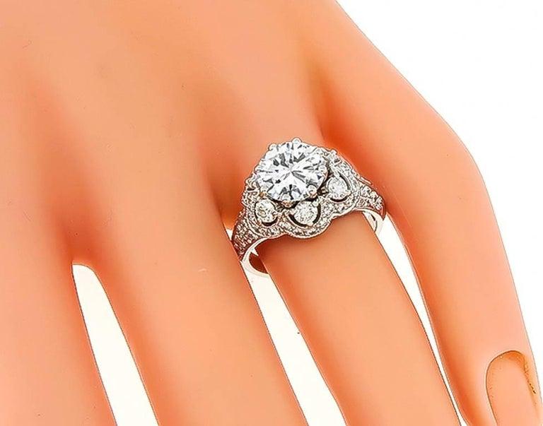 Contemporary 1.64 Carat GIA D-VVS2 Diamond Gold Engagement Ring For Sale