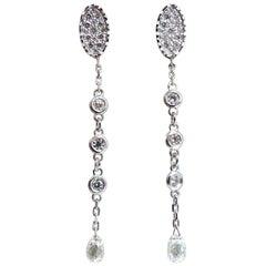1.64 Carat Natural Briolette Diamonds Dangle Earrings 14 Karat