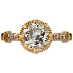 1.64 Carat Old European Cut Diamond Set in an 18 Karat Rose Gold Ring