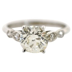 1.64 Carat Old European Cut Diamond Vintage Ring