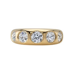 1.64 Carat Old European Cut Diamonds Set in a Handcrafted Domed Yellow Gold Band
