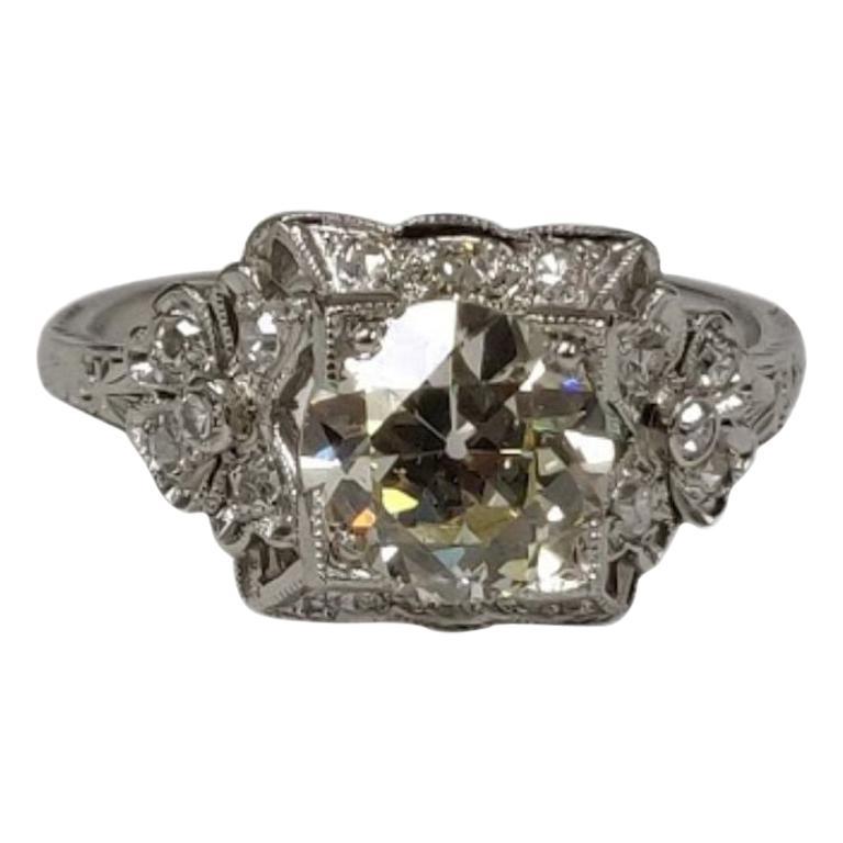 1.64 Carat Old European Cut Edwardian Diamond Ring, Made in Platinum