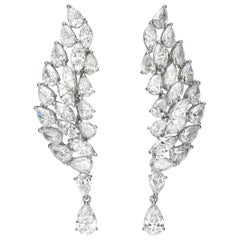 16.4 Carat Pear Marquise Diamond 18 Karat White Gold Chandelier Earrings