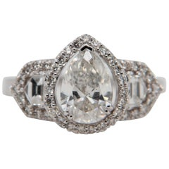 1.64 Carat Pear Shape Diamond Ring in 18 Karat Gold