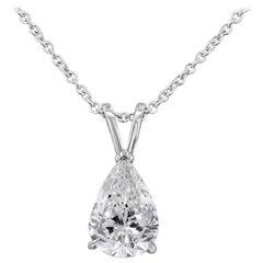 1.64 Carat Pear Shape Diamond Solitaire Pendant Necklace