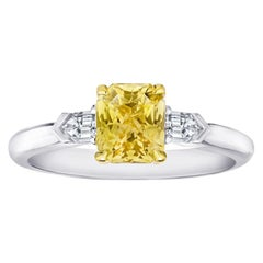 1.64 Carat Radiant Cut Yellow Sapphire and Diamond Platinum and 18k Ring