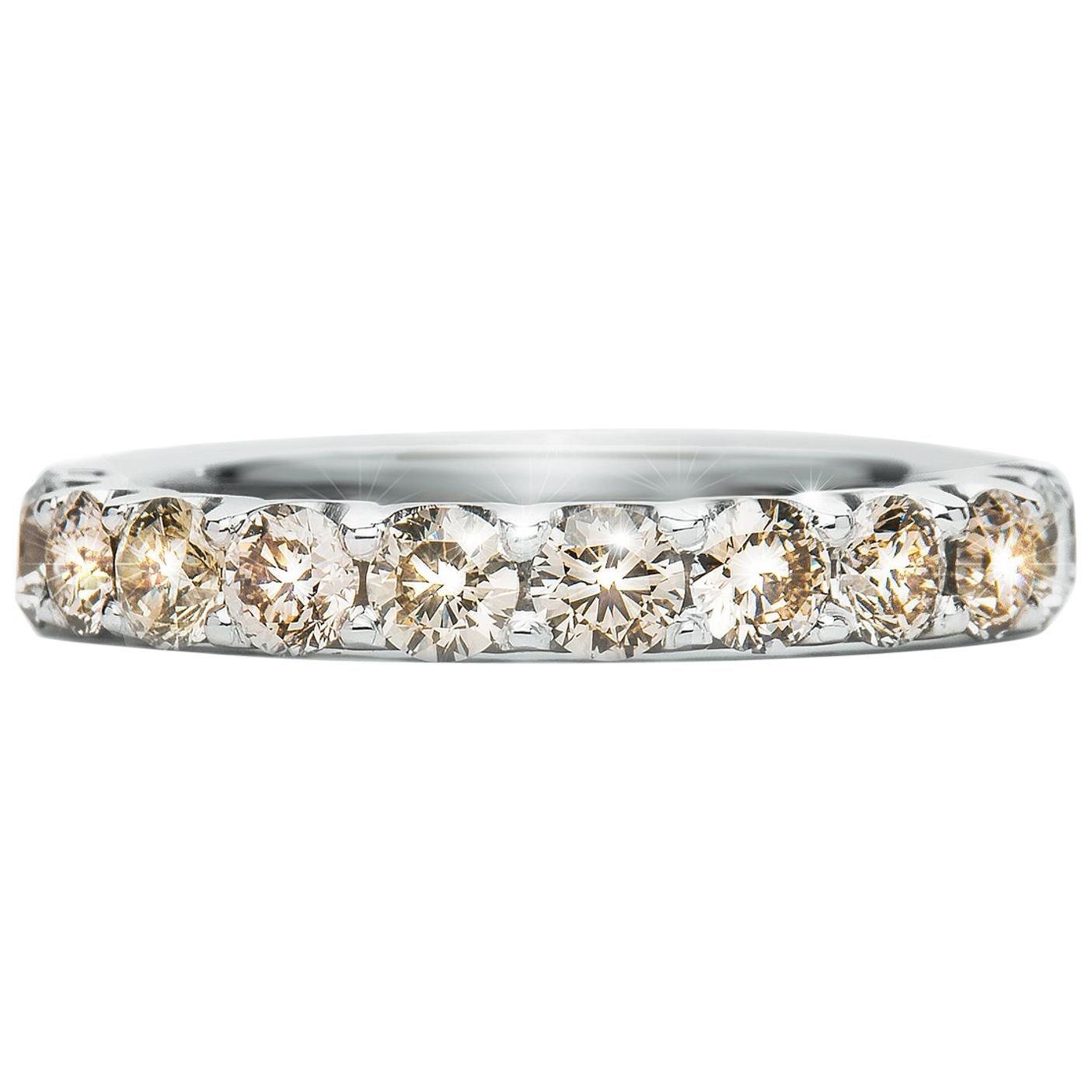 1.64 Carat Round Champagne Diamond Scalloped Claw Set Ring Natalie Barney