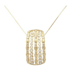 1.64 Carat Round Diamond 18k Yellow Gold Pendant