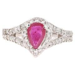 1.64 Carat Ruby Diamond 14 Karat White Gold Engagement Ring