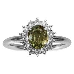 1.640 Carat Chrysoberyl 0.480 Carat Diamond Platinum Line Ring #8-#14