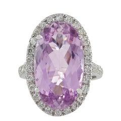 16.40 Carat Natural Kunzite 18 Karat White Gold Diamond Ring