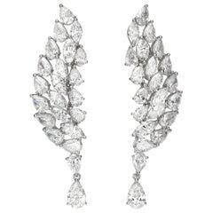 16.40 Carat Pear Marquise Diamond 18 Karat White Gold Chandelier Drop Earrings