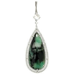 16.40 Carat Pear Shaped Emerald and White Diamond Pendant with White Gold Chain