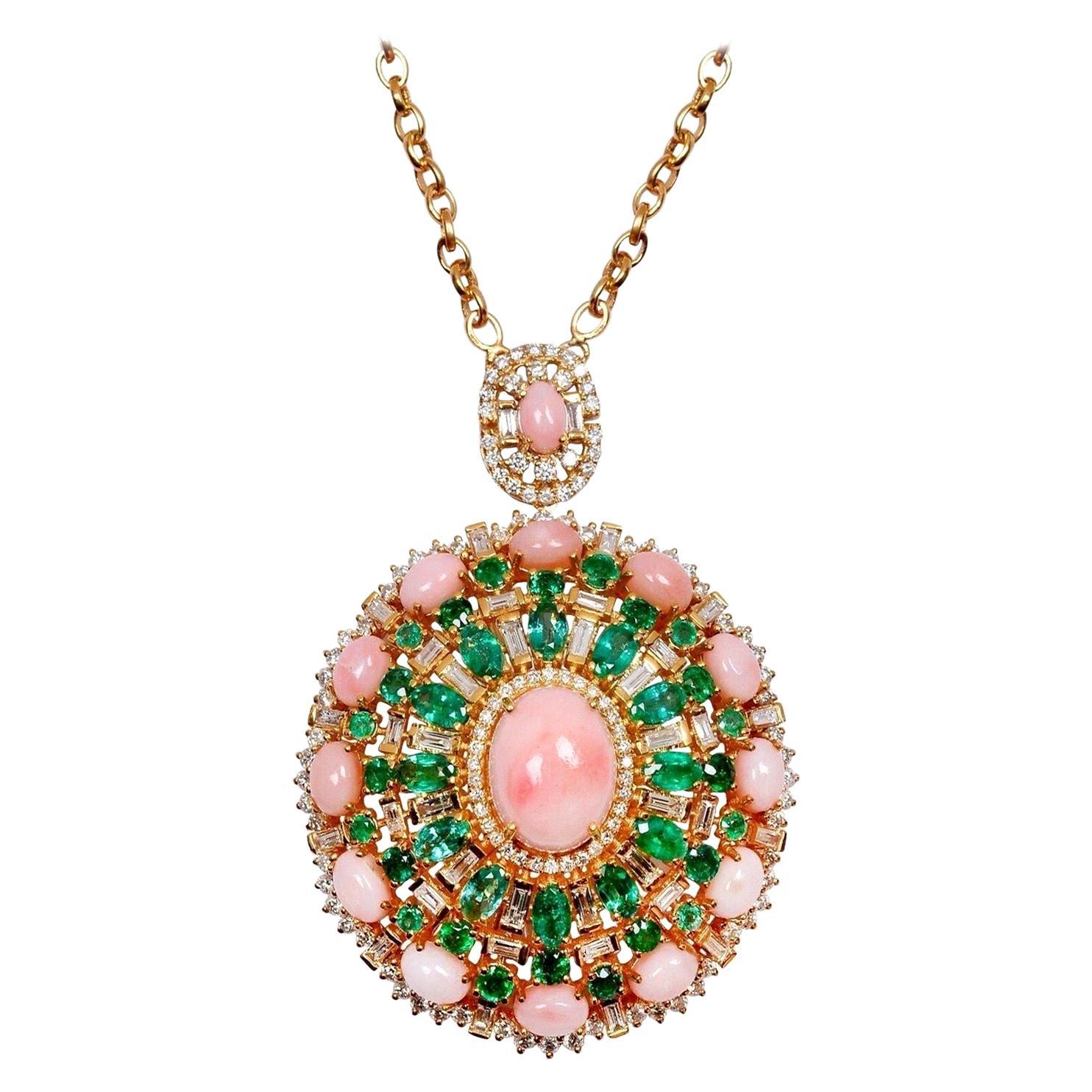 16.40 Pink Opal Emerald Diamond 18 Karat Gold Pendant Necklace