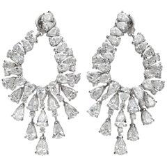 16.41 Carat Pear Drop Diamond 18 Karat White Gold Chandelier Earring
