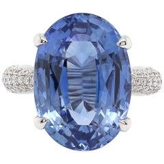 16.42 Carat Blue Sapphire Diamond Solitaire Ring