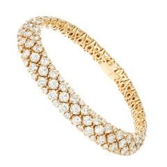 16.43 Carat Round Brilliant Cut Diamond Yellow Gold Bracelet