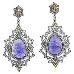 16.46 Carat Tanzanite Diamond Earrings