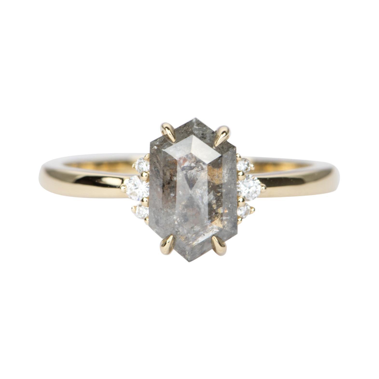 1.64ct Hexagon Salt and Pepper Diamond 14K Yellow Gold Engagement Ring AD2374