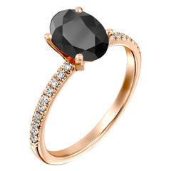 1.65 Carat 14 Karat Rose Gold Certified Oval Black Diamond Engagement Ring