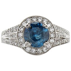 1.65 Carat Blue Irradiated Diamond and White Diamond White Gold Cocktail Ring