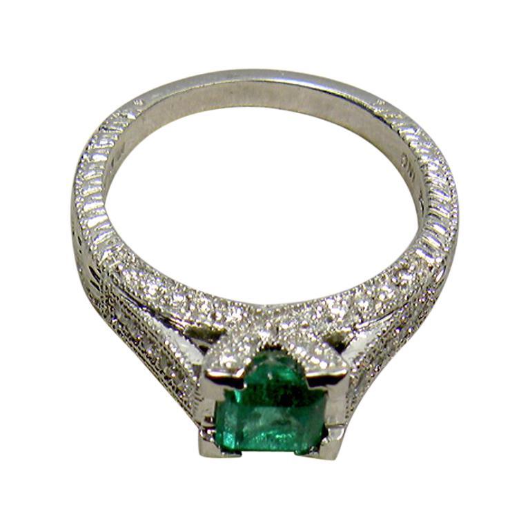 1.65 Carat Colombian Natural Emerald Diamond Engagement Ring Platinum