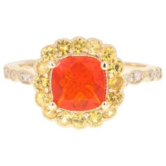 1.65 Carat Cushion Cut Fire Opal Diamond 14 Karat Yellow Gold Ring