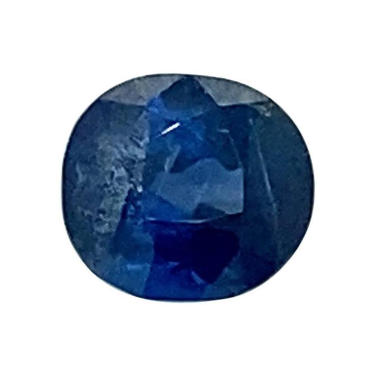 1.65 Carat Cushion-Cut Unheated Burmese Royal Blue Sapphire