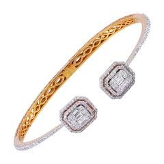 1.65 Carat Diamond 18 Karat Rose Gold Open Bangle Bracelet