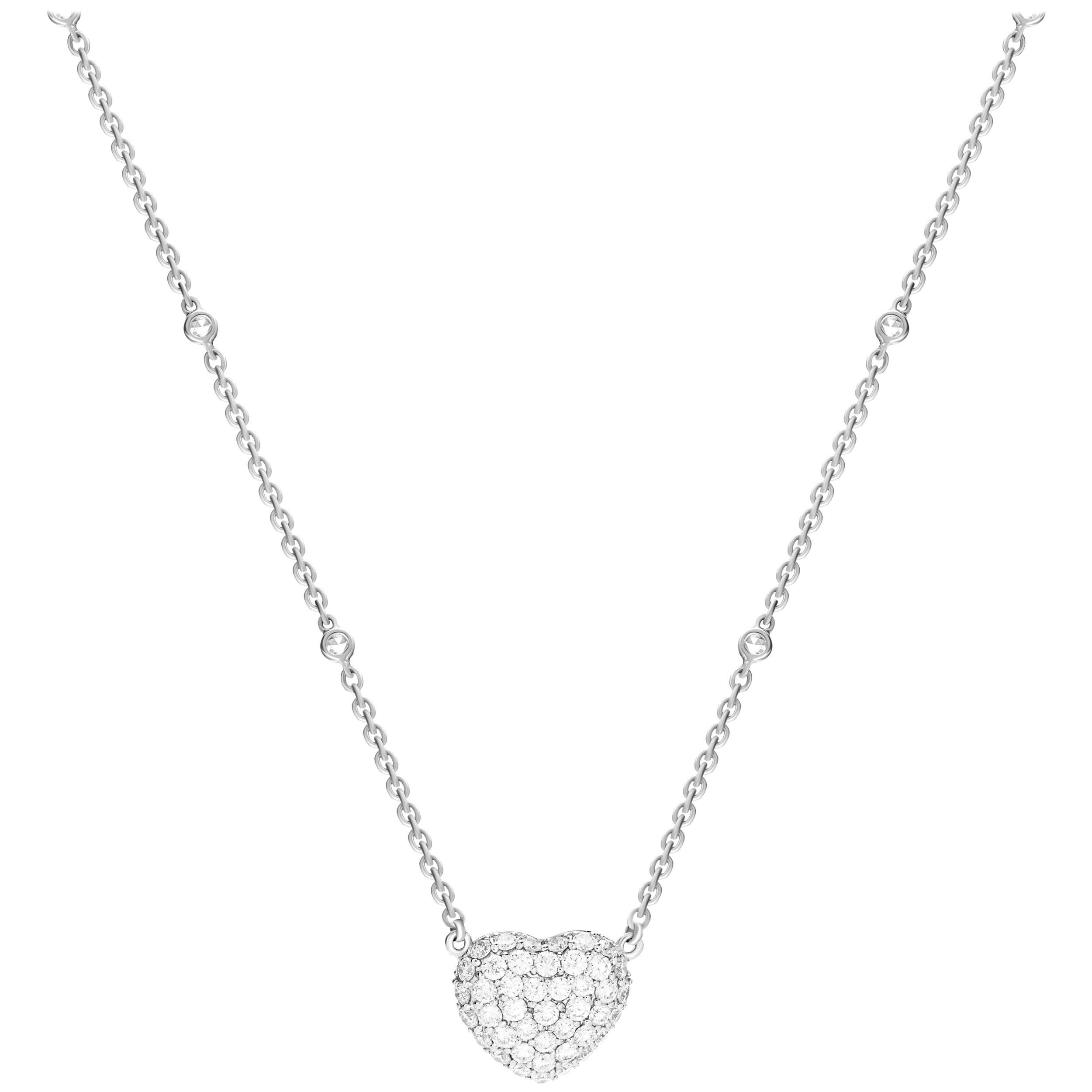 1.65 Carat Diamond 18 Karat White Gold Heart Pendant Necklace