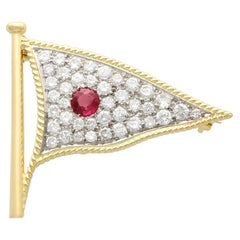 1.65 Carat Diamond and Ruby Yellow Gold Flag Brooch