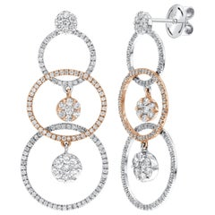 1.65 Carat Diamond Hoop Cluster 18 Karat Rose White Gold Drop Tresor Earrings