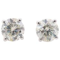 1.65 Carat Natural Diamond Round Studs