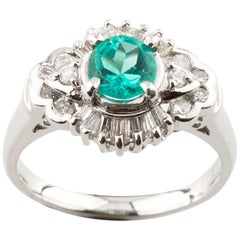 1.65 Carat Emerald Solitaire Platinum Ring with Diamond Accents