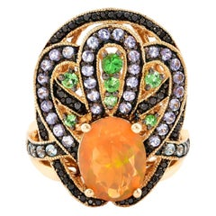 1.65 Carat Ethiopian Opal Ring in 14 Karat Yellow Gold with Diamonds