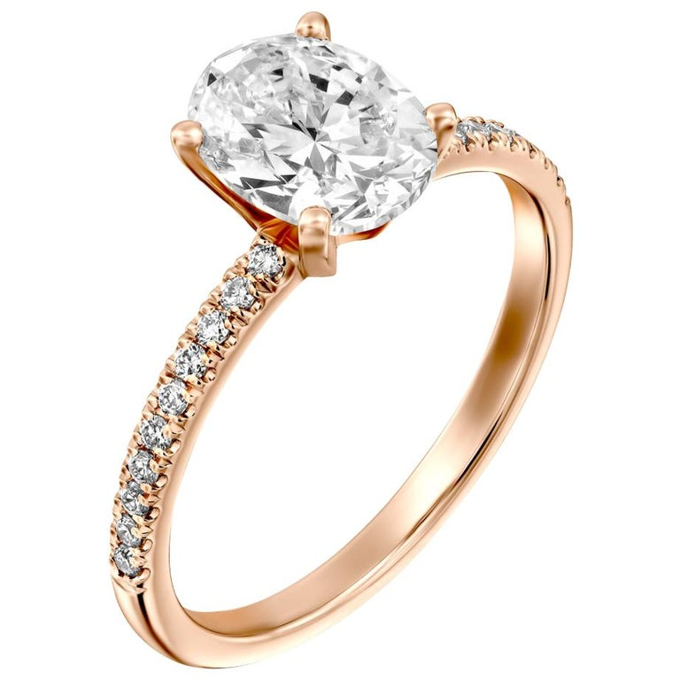 1.65 Carat GIA Oval Cut Diamond Ring, 18 Karat Rose Gold Solitaire Ring For Sale