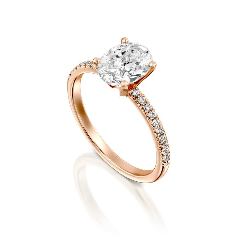 Art Deco 1.65 Carat GIA Oval Cut Diamond Ring, 18 Karat Rose Gold Solitaire Ring For Sale
