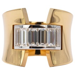 1.65 Carat Handmade Baguette Diamond 18 Karat Yellow and White Gold Ring