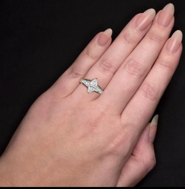 Marquise Cut 1.65 Carat Marquise Diamond Engagement Ring For Sale